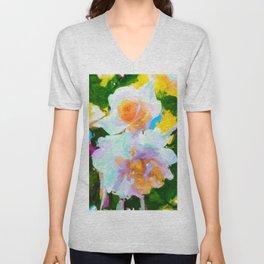 White Roses Unisex V-Neck