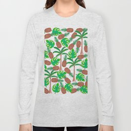 Pineapple Palm Trees and Tropical Summer Leaves Long Sleeve T-shirt