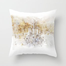 Palace Chandelier Gold Throw Pillow