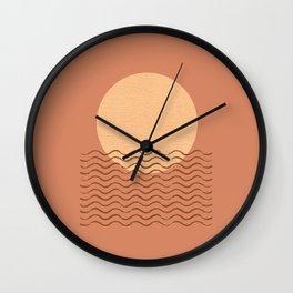 Ocean Wave Terracotta - Mid century modern Wall Clock