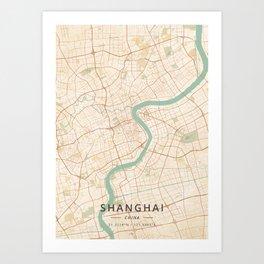 Shanghai, China - Vintage Map Art Print