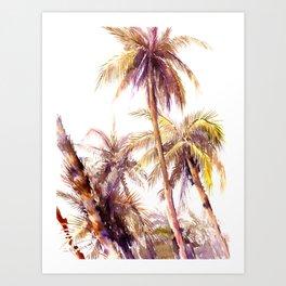 Palm Trees, coconut palms tropical beach palm tree Art Print