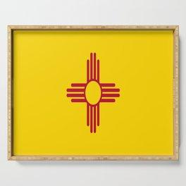 flag new mexico-usa,america,sun,Zia Sun symbol,New Mexican,Albuquerque,Las Cruces,santa fe,roswell Serving Tray