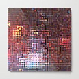 Burgundy Nebula Pixels Metal Print