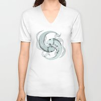 pisces V-neck T-shirts featuring Pisces by Vibeke Koehler