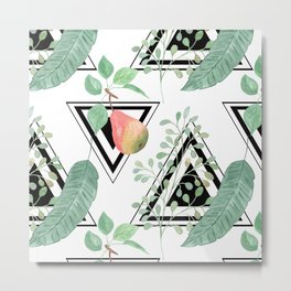 Pears, leaves geometric black and white background. Metal Print