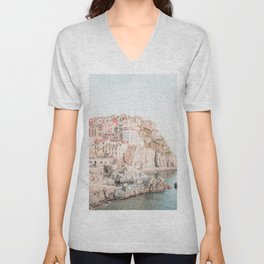 Positano, Italy Amalfi coast pink-peach-white travel photography in hd Unisex V-Neck