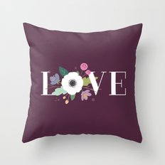 Floral Love - in Plum Throw Pillow