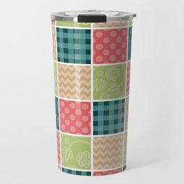 Zigzag, Polka Dots, Gingham - Green Red Blue Travel Mug