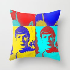 Science Officer Spock (Andy Warhol Remix) Throw Pillow