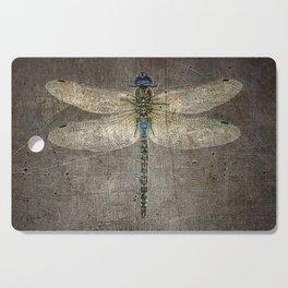 Dragonfly On Distressed Metallic Grey Background Cutting Board