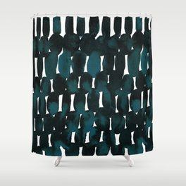 Watercolor Pattern in Teal and Black Shower Curtain