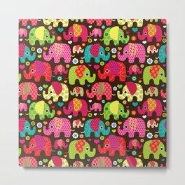 Colorful Elephants Metal Print