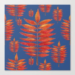 Staghorn Sumac leave on blue Canvas Print