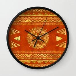Gold Aztec Calendar Sun symbol Wall Clock