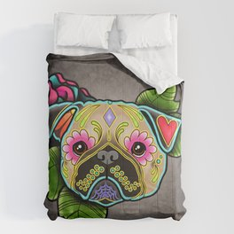 Pug in Fawn - Day of the Dead Sugar Skull Dog Comforters