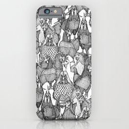 just chickens black white iPhone Case