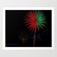fireworks Art Prints featuring Fireworks by Warren Benberry Photography / o.d.Imagez