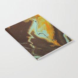 Fluid Art Acrylic Painting, Pour 3 - Black, Orange & Turquoise Blended Color Notebook