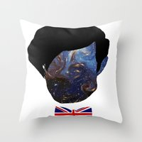 the who Throw Pillows featuring Who? by FOREVER NERD