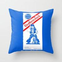 jack sparrow Throw Pillows featuring Cracker Jack Sparrow by sinistergrynn