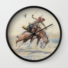 C.M. Russell The Bucker Vintage Western Art Wall Clock