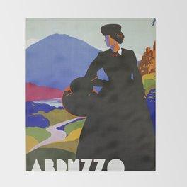 Abruzzo Italian travel Lady on a walk Throw Blanket