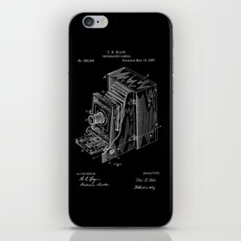 Vintage Camera Patent - White on Black iPhone Skin