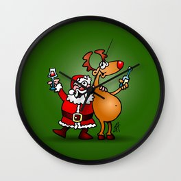 Santa Claus and his Reindeer Wall Clock