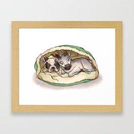 Bubba & Sleeping Reindeer Framed Art Print