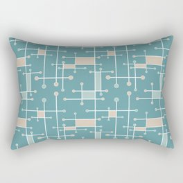 Intersecting Lines in Teal, Tan and Sea Foam Rectangular Pillow