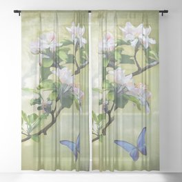 Butterflies and Apple Blossoms Sheer Curtain