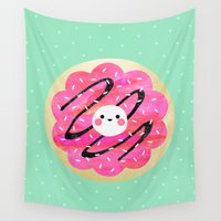 baking Wall Tapestries featuring Little Cookie / Turquoise by Elisabeth Fredriksson