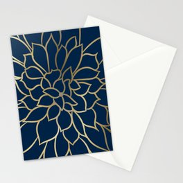 Floral Prints, Line Art, Navy Blue and Gold Stationery Cards