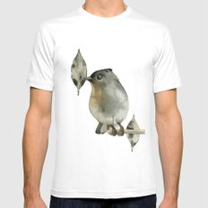 Grey Birdy White MEDIUM Mens Fitted Tee