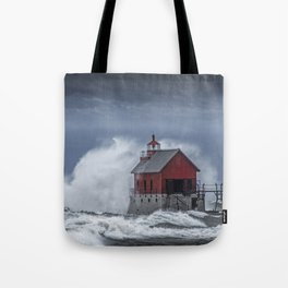 Grand Haven Lighthouse in a November Storm on Lake Michigan Tote Bag