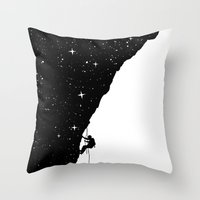 climbing Throw Pillows featuring night climbing by Balazs Solti