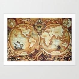 Release the Kraken - A New Map of the World Art Print