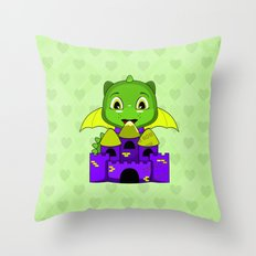 Chibi Dragon With A Yellow And Purple Castle Throw Pillow