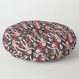 Sock Monkey Santa Floor Pillow