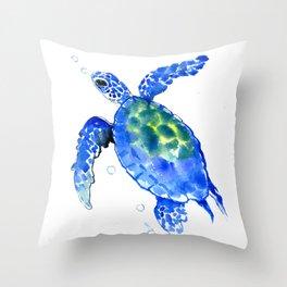 Blue Sea Turtle Throw Pillow