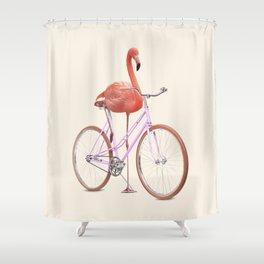 FLAMINGO BIKE Shower Curtain