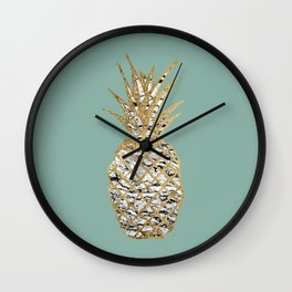 Modern Chic Marble Gold Pineapple Fruit Wall Clock