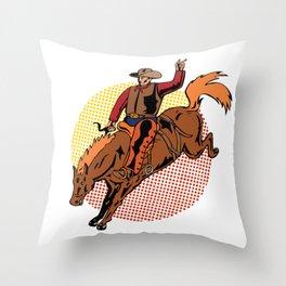 Vintage Retro Western Cowboy Horseback Rodeo Gift  Throw Pillow
