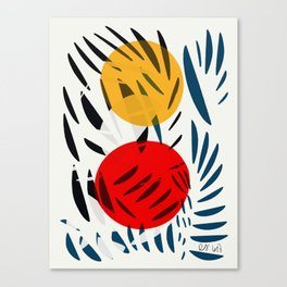 Yellow and Red Abstract Art Graphic Design Canvas Print