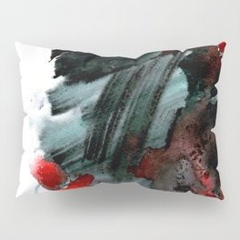 Original watercolor black and white painting with abstract red poppie flower. Handmade technique f Pillow Sham