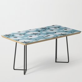 Cotton Flowers on Blue Pattern Coffee Table