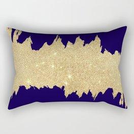 Modern abstract navy blue gold glitter brushstrokes Rectangular Pillow