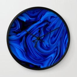 Blue Liquid Marbled texture Wall Clock
