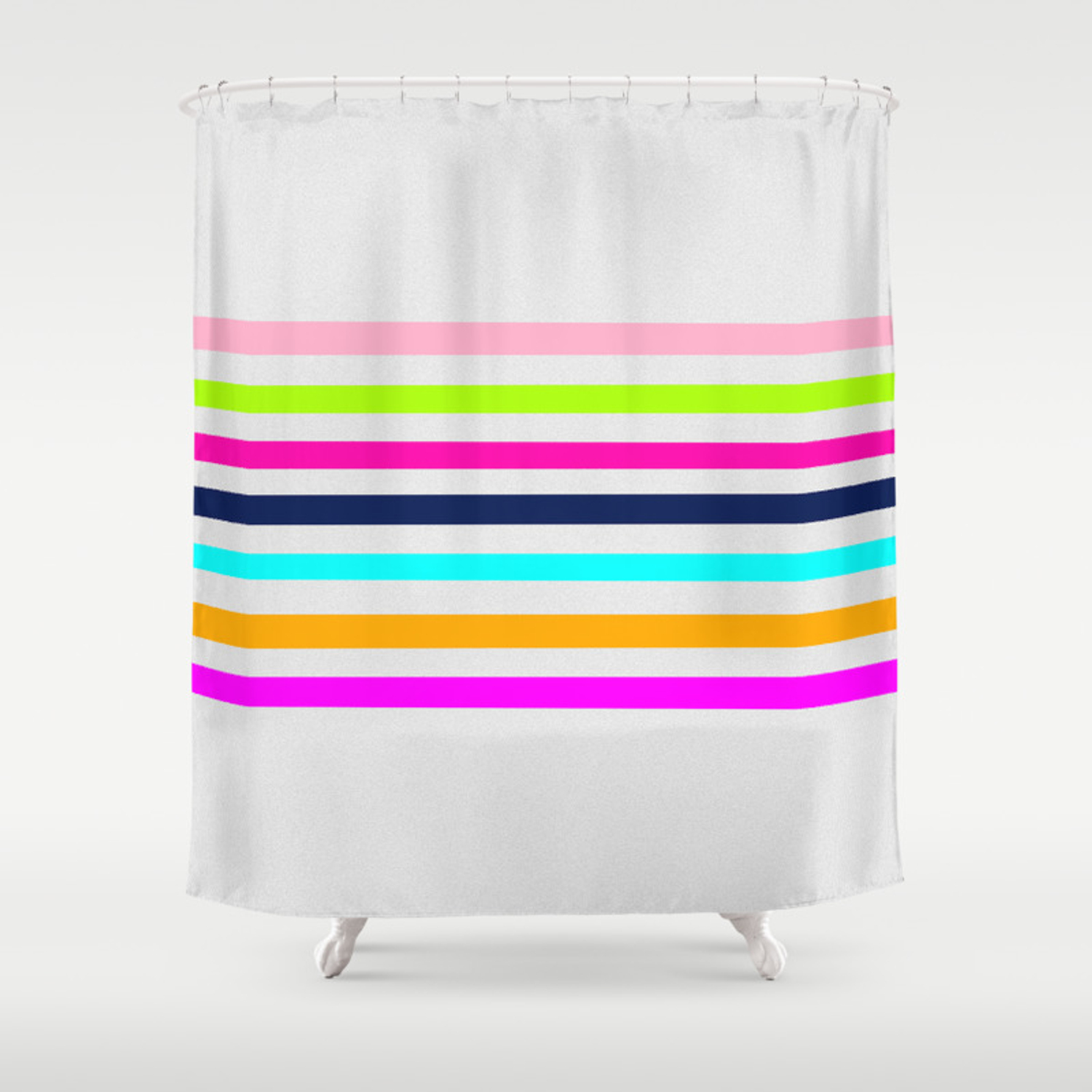 Modern Neon Colors Geometrical Whimsical Stripes Shower Curtain